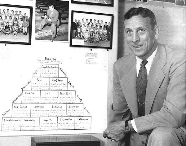 John Wooden with Pyramid